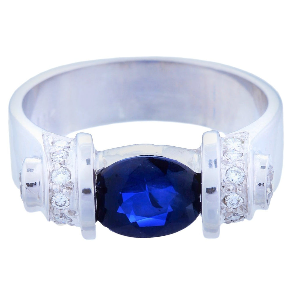 Nuts & Bolts Diamond & Sapphire Ring (1.74 ct Sapphire & Diamonds) in White Gold