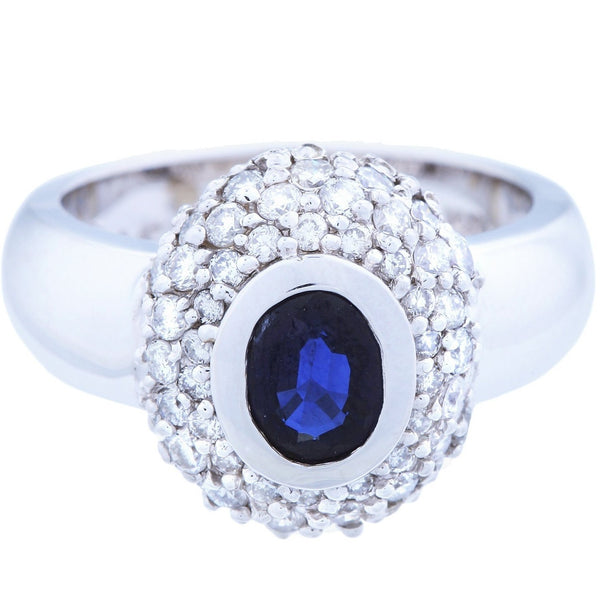 Diamond Halo Sapphire Ring (1.95 ct Sapphire & Diamonds) in White Gold