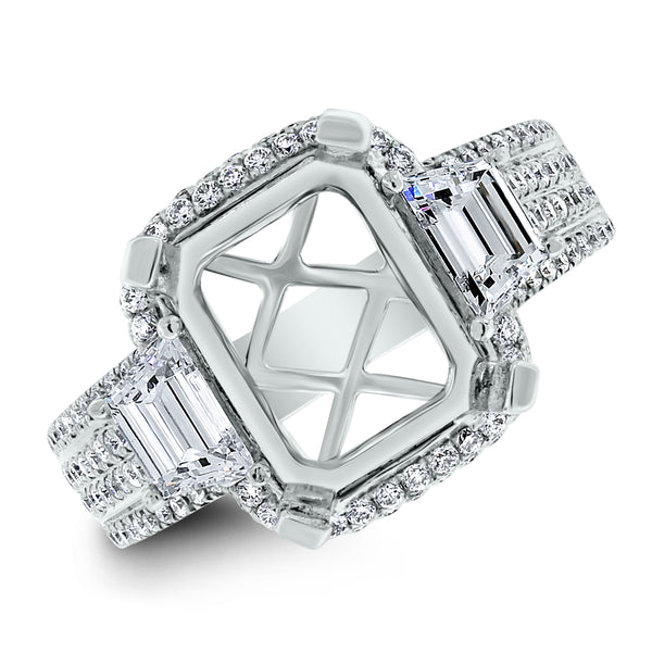 Rebel Engagement Setting for a 3.5 ct Emerald Cut (1.39 ct Diamonds) in White Gold