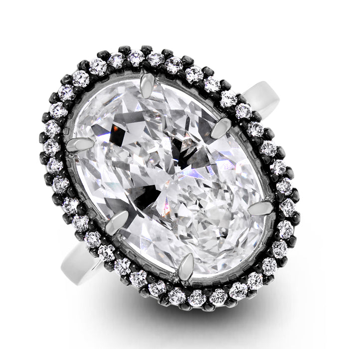 The Antique Engagement Ring (6.20 ct Oval KVVS2 IGI Diamond) in Platinum