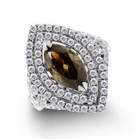 Chocola Diamond Ring (2.44 ct Oval Fancy Dark Orangey Brown VS1 GIA Diamond) in White Gold