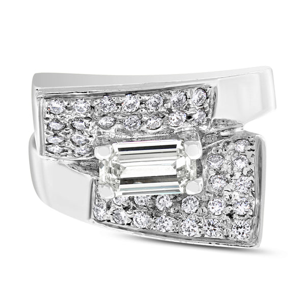 Spaces Engagement Ring (0.72 ct Emerald Cut IVS Diamond) in White Gold