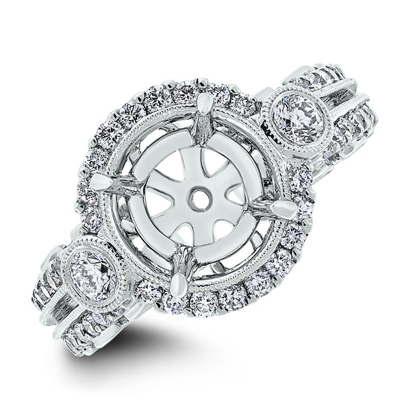 Riva Engagement Setting for a 2.4 ct Round (0.69 ct Diamonds) in White Gold