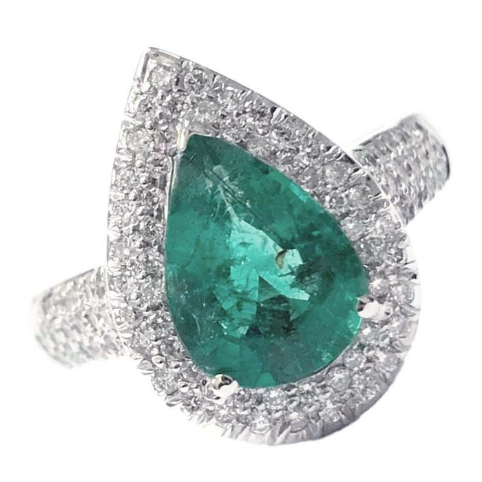 Emerald Pear Halo Ring
