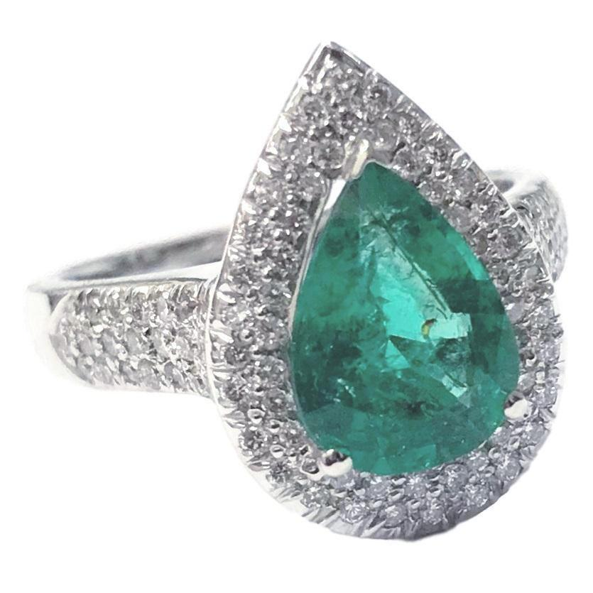 Sara Emerald & Diamond Ring (2.29 ct Emerald & Diamonds) in White Gold