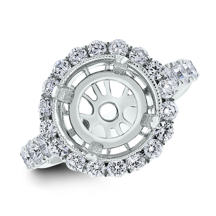 Vienna Engagement Setting for a 4.5 ct Round (1.45 ct Diamonds) in White Gold