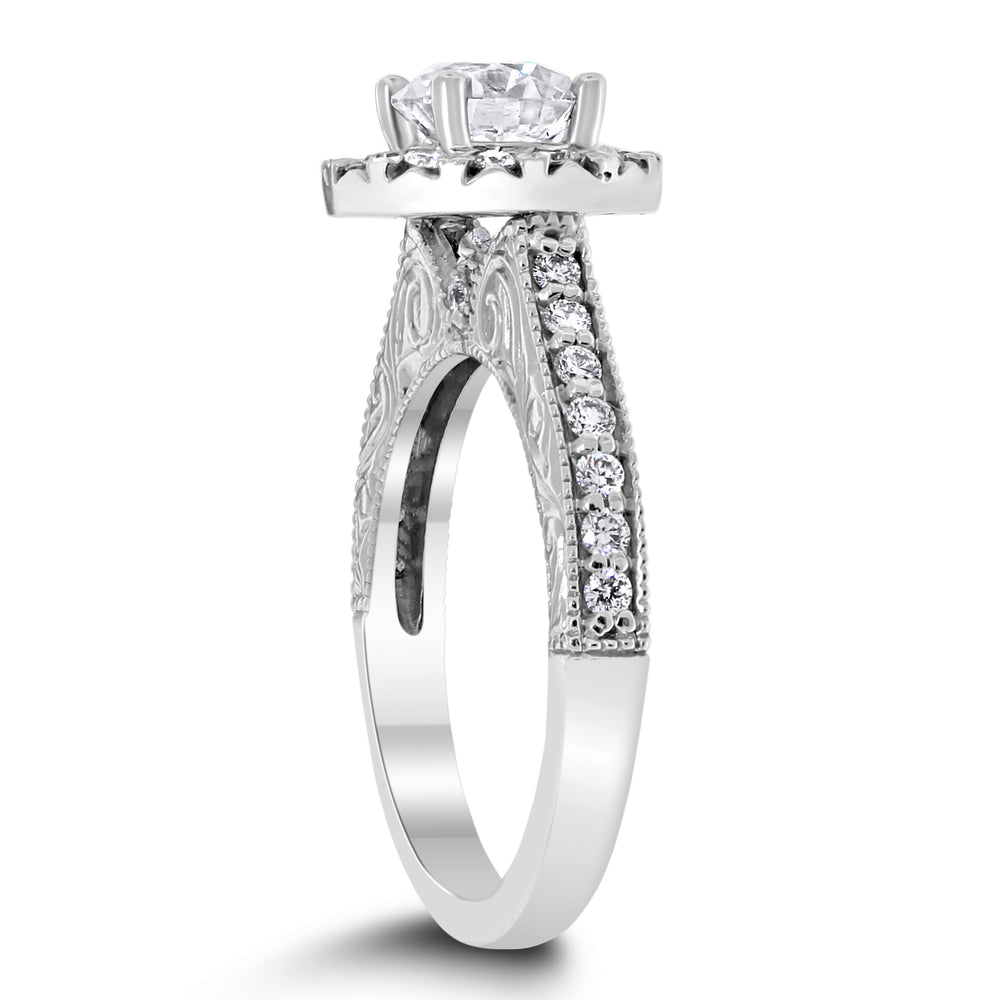 Rita Engagement Ring Bridal Set (1.06 ct Round GVS2 EGLUSA Diamond) in White Gold