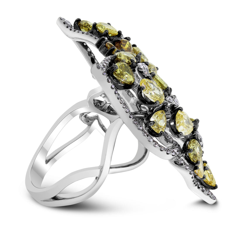The Fall Butterfly Ring (4.95 ct Diamonds) in White Gold