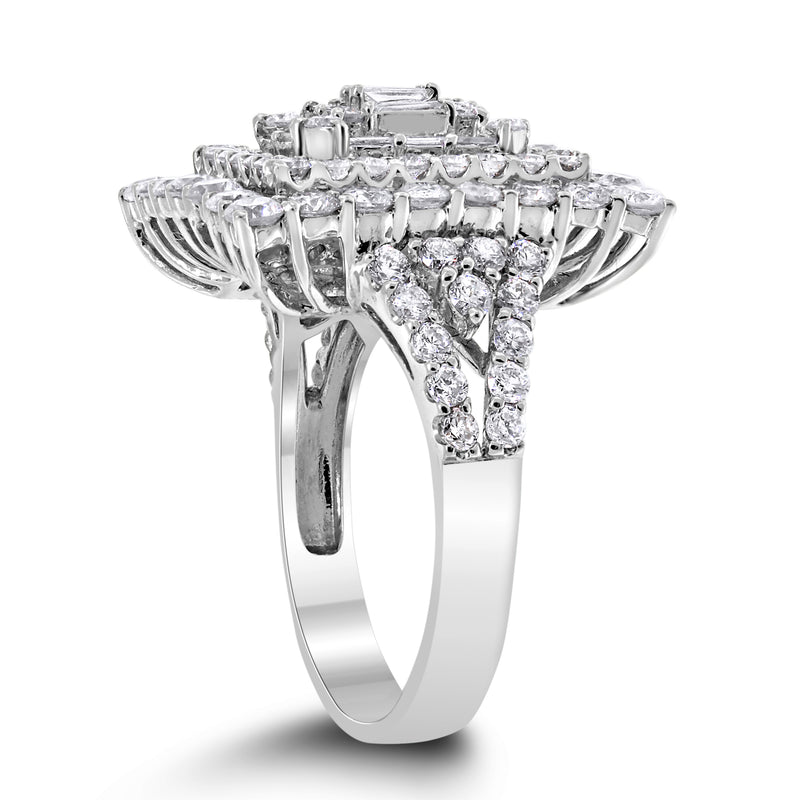 Crystal Diamond Ring (2.59 ct Diamonds) in White Gold