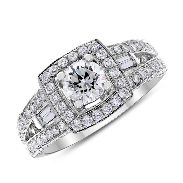 Round Diamond Square Halo Ring (0.58 ISI3 EGLUSA)