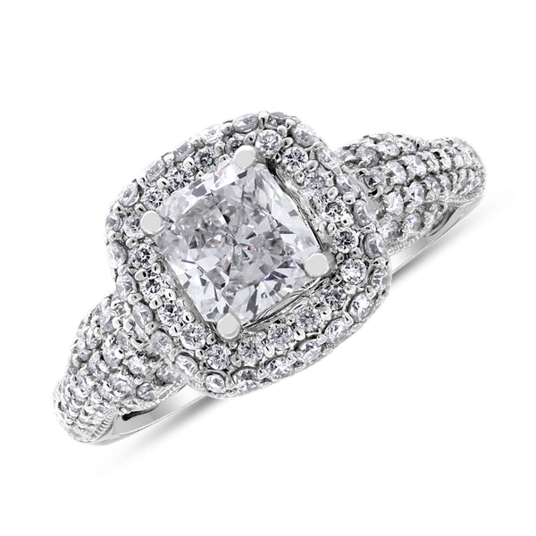 Bridges Engagement Ring (0.91 ct Radiant KVVS Diamond) in White Gold