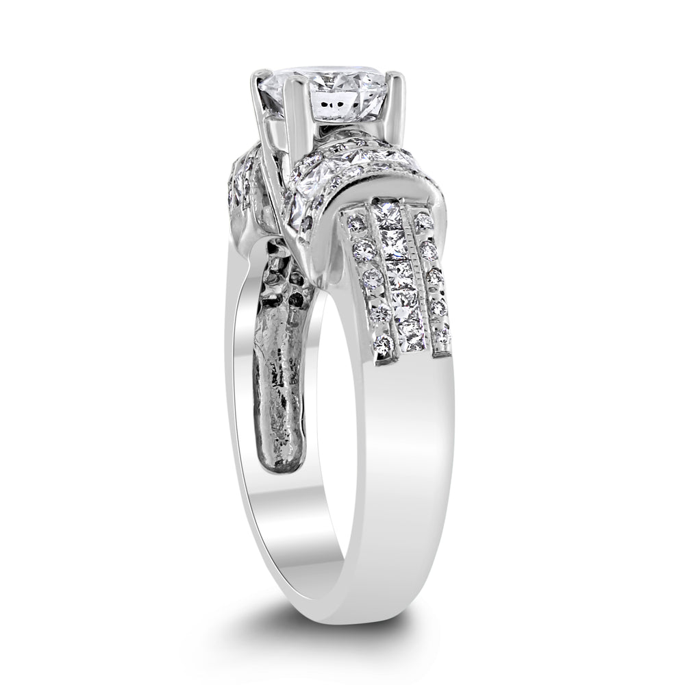 Francine Engagement Ring (1.00 ct Round GSI2 EGLUSA Diamond) in White Gold