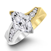 Yin & Yang Engagement Ring (1.64 ct Marquise GI1 EGLUSA Diamond) in Gold & Platinum
