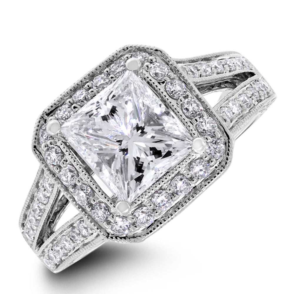 The Regal Engagement Ring (1.52 ct Princess GVS2 EGLUSA Diamond) in White Gold
