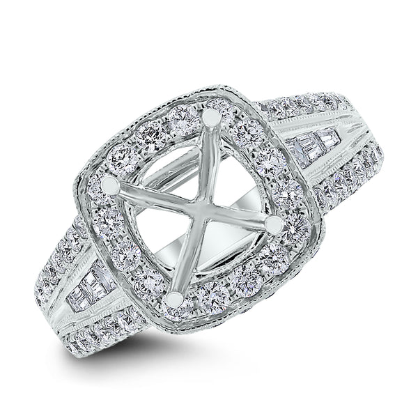 Nancy Engagement Setting for a 1.60 ct Round (1.55 ct Diamonds) in White Gold