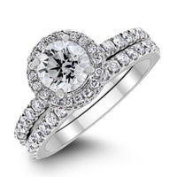 Promises Engagement Ring Bridal Set (1.01 ct Round KSI3 EGLUSA Diamond) in White Gold