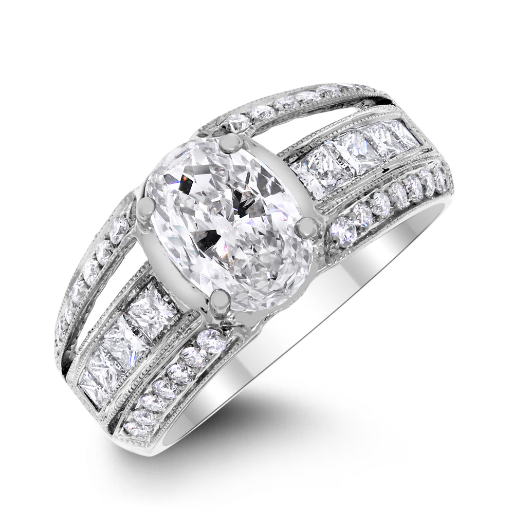 Bridget Engagement Ring (1.56 ct Oval ESI2 EGLUSA Diamond) in White Gold