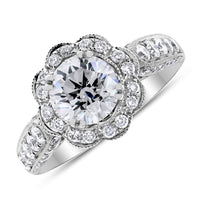 Blossoms Engagement Ring (1.21 ct Round GSI2 EGLUSA Diamond) in White Gold