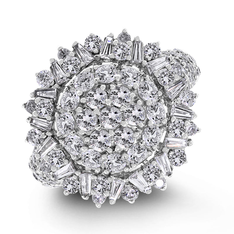 Sun Burst Diamond Ring (2.57 ct Diamonds) in White Gold
