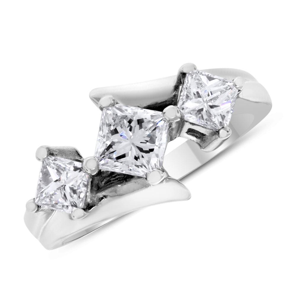 Trinity Engagement Ring (1.20 ct Princess Cut Diamonds) in White Gold