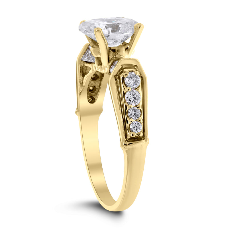 Cynthia Engagement Ring (1.60 ct Oval JSI2 Diamond) in Yellow Gold