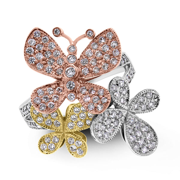Butterflies Diamond Ring (1.75 ct Diamonds) in Gold