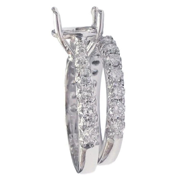 French Engagement Setting Bridal Set (1.28 ct Diamonds) in White Gold