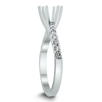 Curves Engagement Setting for a 0.90 ct Round (0.28 ct Diamonds) in White Gold