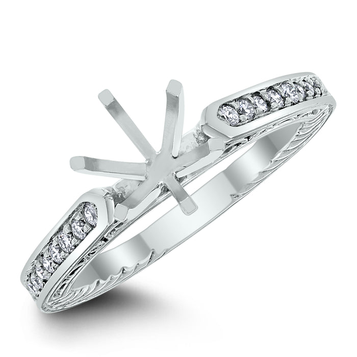 Brittany Engagement Setting for a 1.25 ct Round (0.15 ct Diamonds) in White Gold
