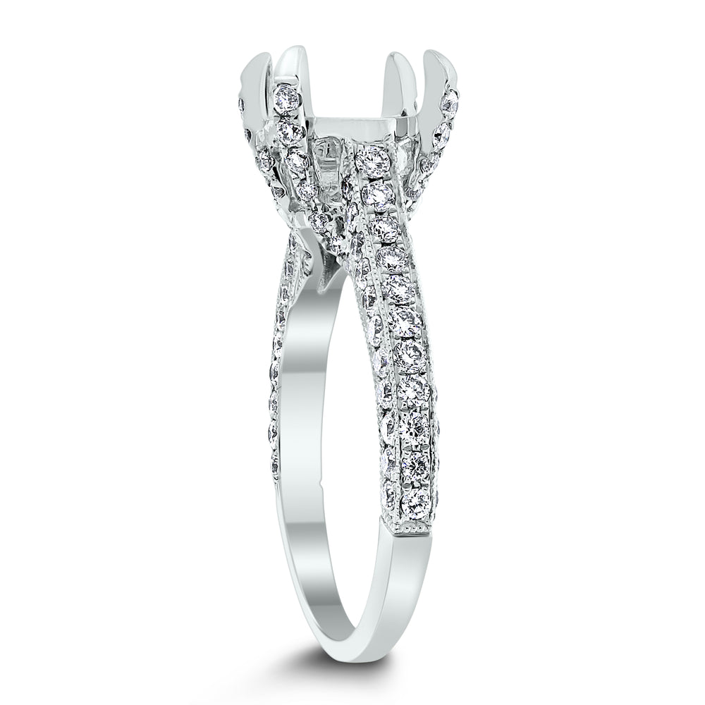 Heritage Engagement Setting for a 2 ct Round (1.00 ct Diamonds) in White Gold