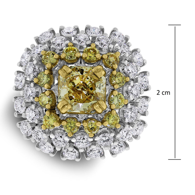 Genelia Yellow Diamond Solitaire Cocktail Ring (3.44 ct Diamonds) in Gold