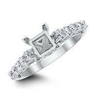 Princess Engagement Setting Bridal Set for a 1 ct Princess Cut (1.00 ct Diamonds) in White Gold