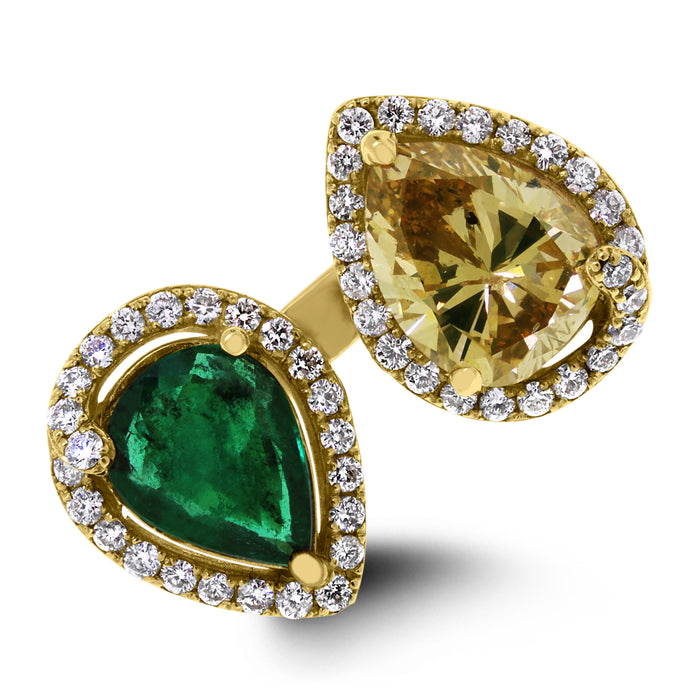 2 Way Emerald & Diamond Ring (3.88 ct Emeralds & Diamonds) in Yellow Gold