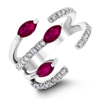 Rosy Blooms Ruby Ring (1.04 ct Rubies & Diamonds) in White Gold