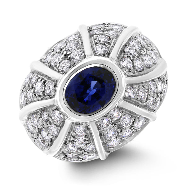 Twinkling Sapphire & Diamond Dome Band (3.44 ct Sapphire & Diamonds) in White Gold