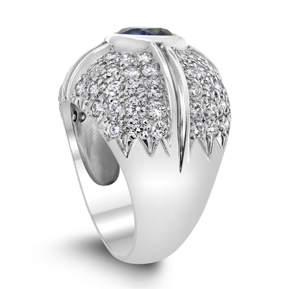 Starry Crossroads Diamond & Sapphire Ring (3.60 ct Sapphire & Diamonds) in White Gold