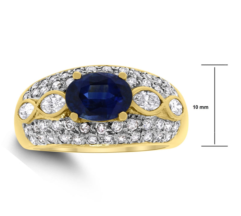 Nayara Sapphire & Diamond Band (3.04 ct Diamonds & Sapphire) in Yellow Gold
