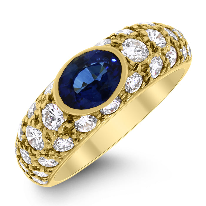 Gloria Diamond & Sapphire Band (2.63 ct Sapphire & Diamonds) in Yellow Gold