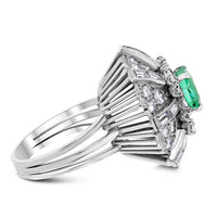 Colombia Emerald & Diamond Ring (5.20 cts Emeralds & Diamonds) in Platinum