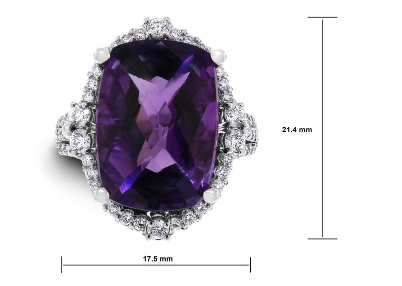 Purple Crush Amethyst Ring (10.47 ct Amethyst & Diamonds) in White Gold