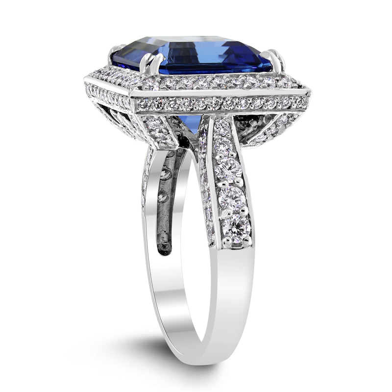 Violet Chameleon Tanzanite Ring (8.92 ct Tanzanite & Diamonds) in White Gold