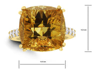 Pot of Gold Citrine Ring (13.44 ct Citrine & Diamonds) in Yellow Gold