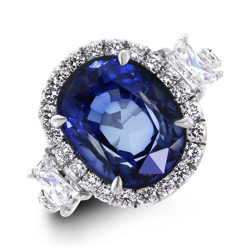 Ice Princess Diamond & Sapphire Ring (7.67 ct Sapphire & Diamonds) in White Gold