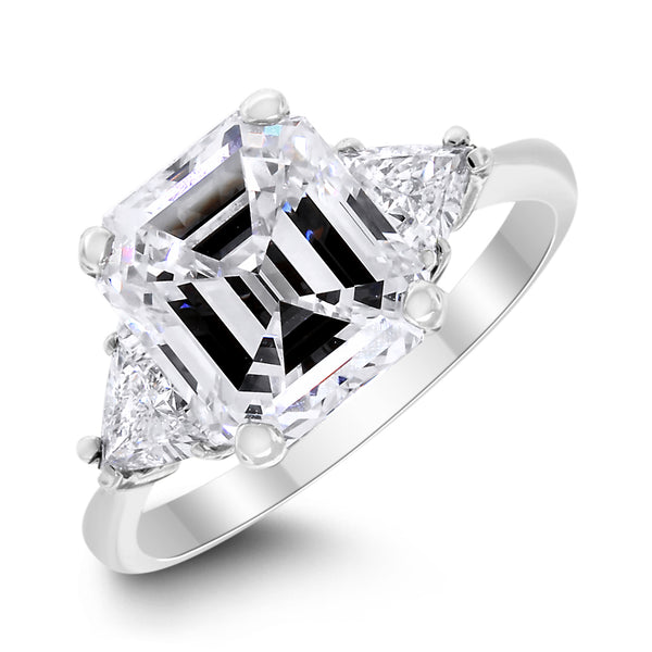 Emerald Cut Engagement Ring (3.07 Emerald Cut HVVS1 GIA Diamond) in Platinum