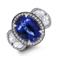 Ice Queen Diamonds & Sapphire Ring (7.51 ct Sapphire & Diamonds) in White Gold