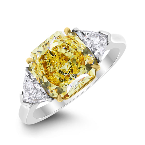 Illuminati Engagement Ring (3.07 ct Cushion Fancy Yellow VVS1 GIA Diamond) in Platinum