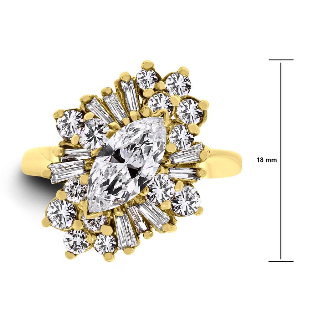 Marquise Cluster Ring (2.00 ct Diamonds) in Yellow Gold