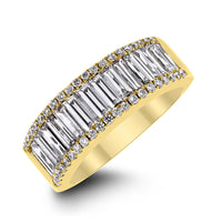 Baguettes & Rounds Diamond Band (1.75 ct Diamonds) in Yellow Gold