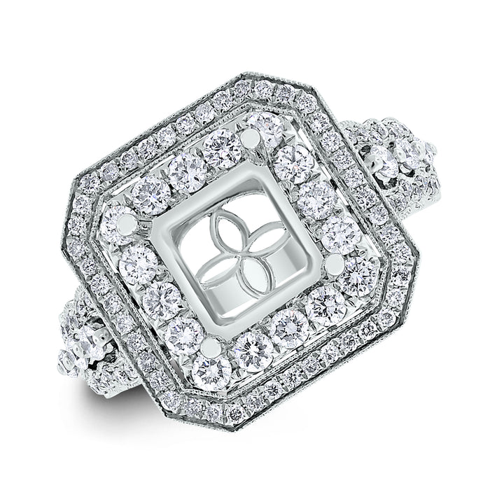 Vanessa Engagement Setting for a 2.00 ct Princess (1.00 ct Diamonds) in White Gold