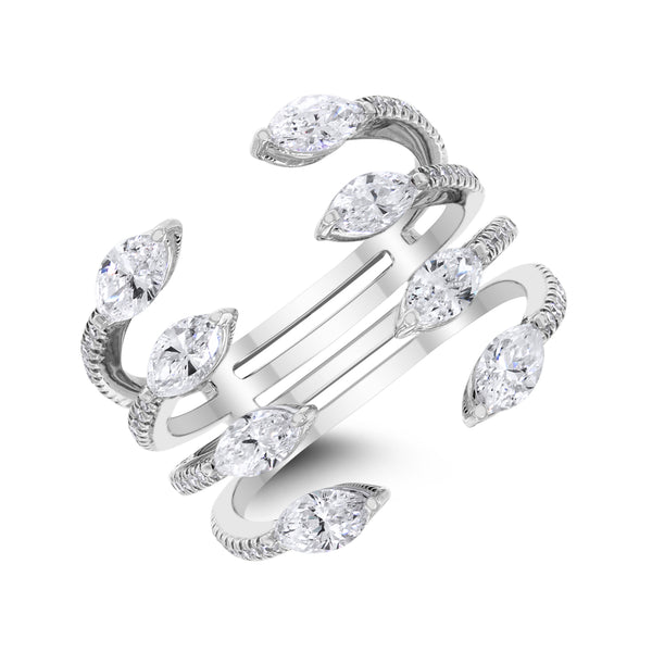 Marquise Peek Ring (1.63 ct Diamonds) in White Gold